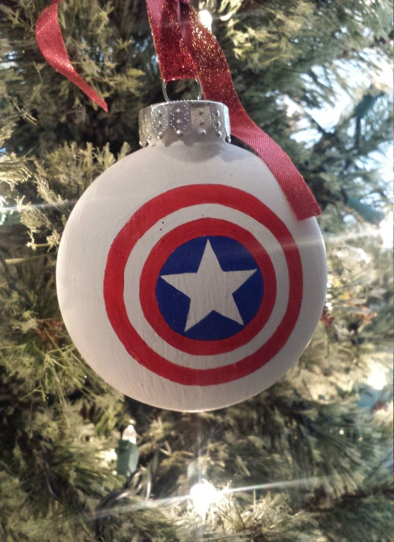 Captain America Ornament Superhero Ornament Tree Decor Tree Ornament Christmas Ornament Christmas Decor Christmas Gifts Stocking Stuffers Vinyl Ornaments Christmas Ornaments Ornament Set