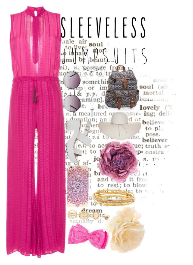 """""""Sleeveless Jumpsuits- Competitiion"""" by madicharles ❤ liked on Polyvore featuring claire's, Zeus+Dione, Monki, Aéropostale, Nine West, Gucci, LULUS, Kate Spade, Accessorize and sleevelessjumpsuits"""