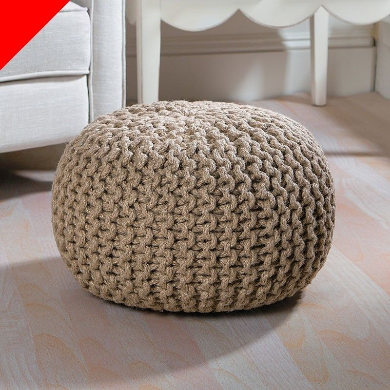 New Jute Foot Stool Pouf Tan Over 1ft Tall Ottaman Bench Chair Seat Living Room And It S On