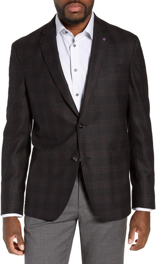 6662c4a44f8c12 Ted Baker Kyle Trim Fit Plaid Wool Sport Coat