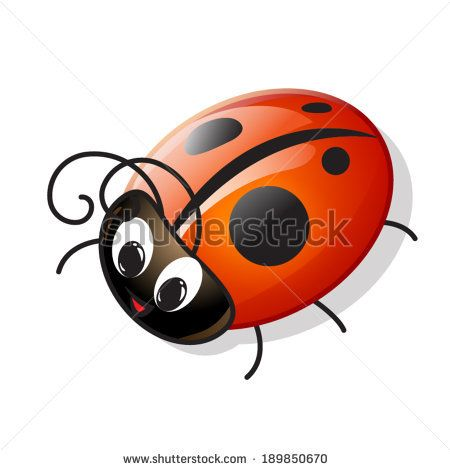 Cartoon Lady Bugs and Insects | Vector funny cartoon ladybug - stock vector