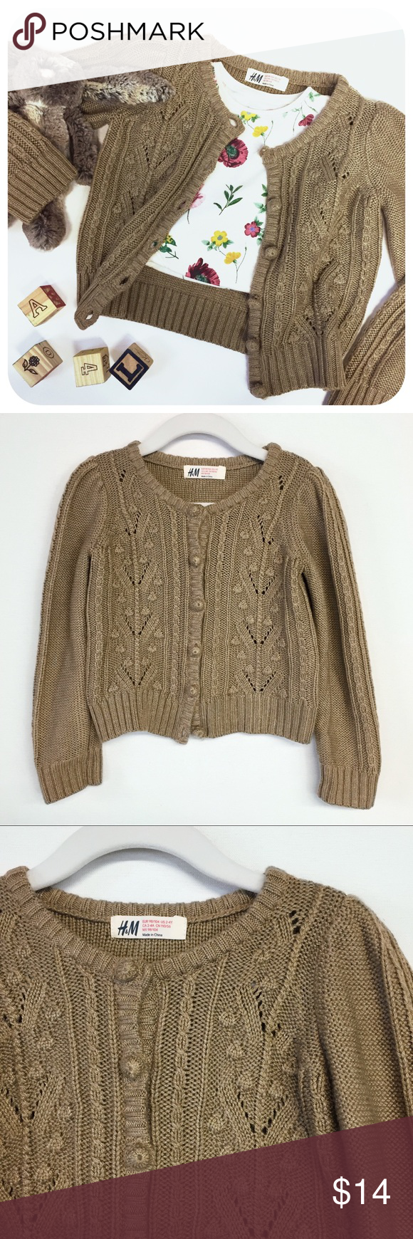 H&M }} Kids Caramel Brown Cable Knit Cardigan -- H&M Shirts & Tops ...