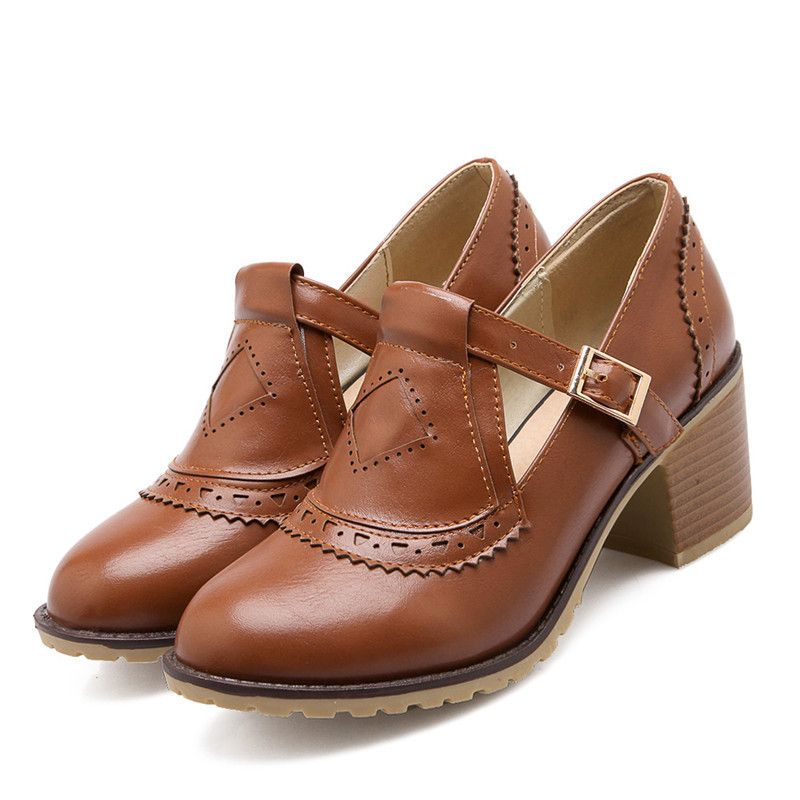 Details about  /Retro Women/'s Lace Ups Oxfords Brogue Block Mid Heels Round Toe Shoes Size 34-43