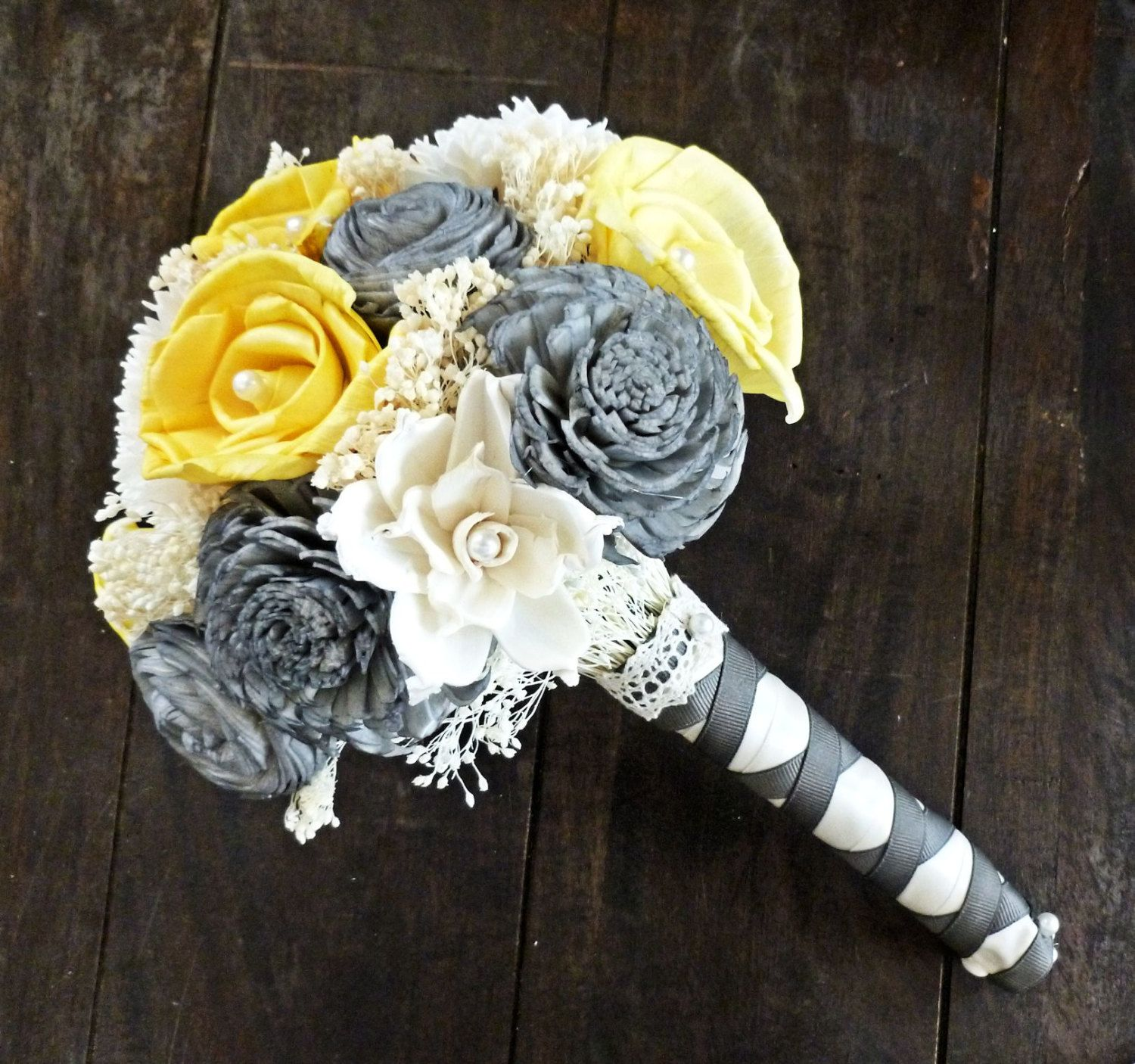 Black And Yellow Wedding Flowers: Custom Handmade Wedding Bouquet -Yellow Gray Ivory Bridal