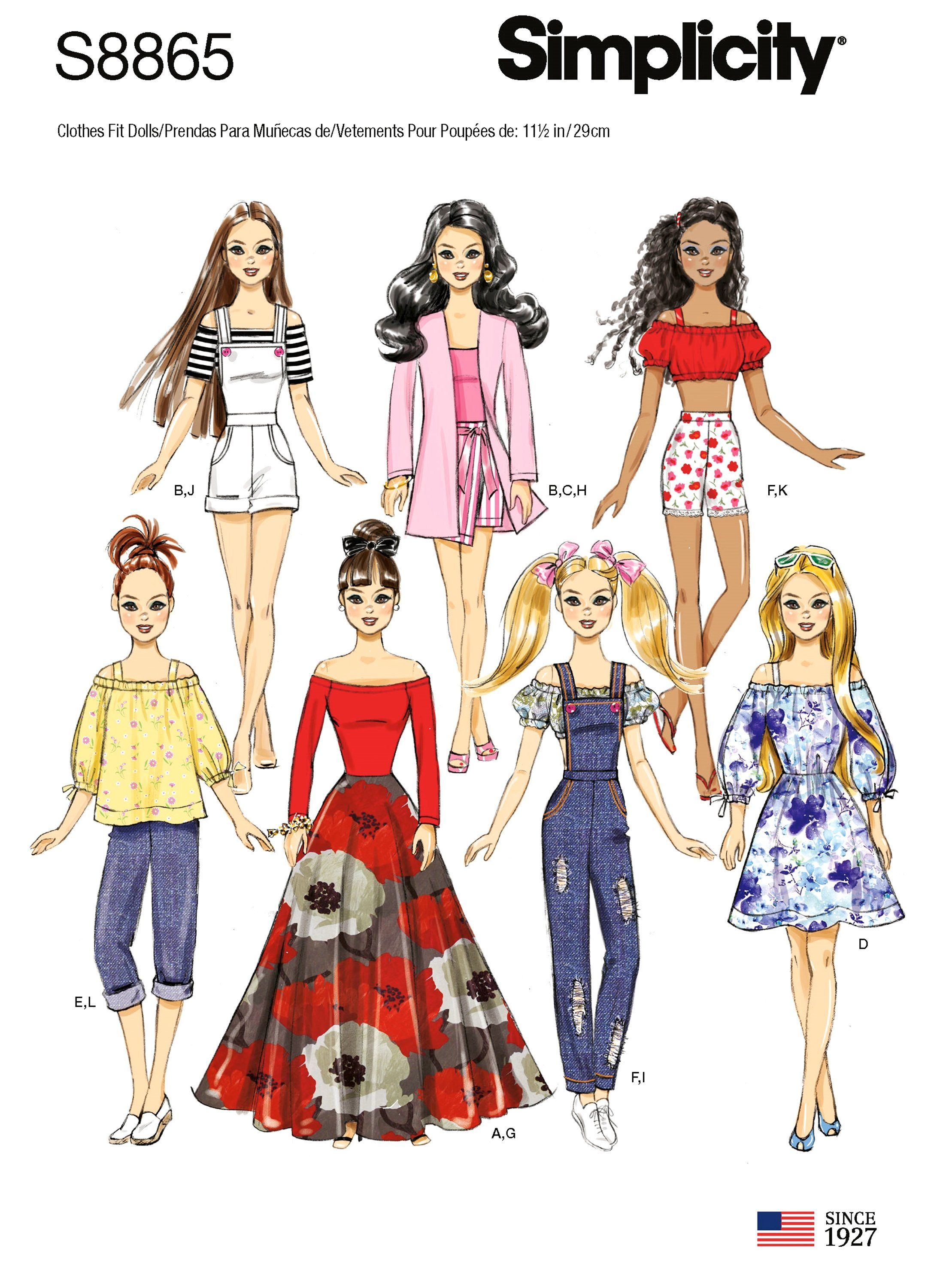 Sewing Pattern 11 1 2 Inch Fashion Doll Clothes Patterns Barbie Doll Size Clothes Pattern Barbie Doll Clothing Patterns Barbie Clothes Patterns Doll Clothes