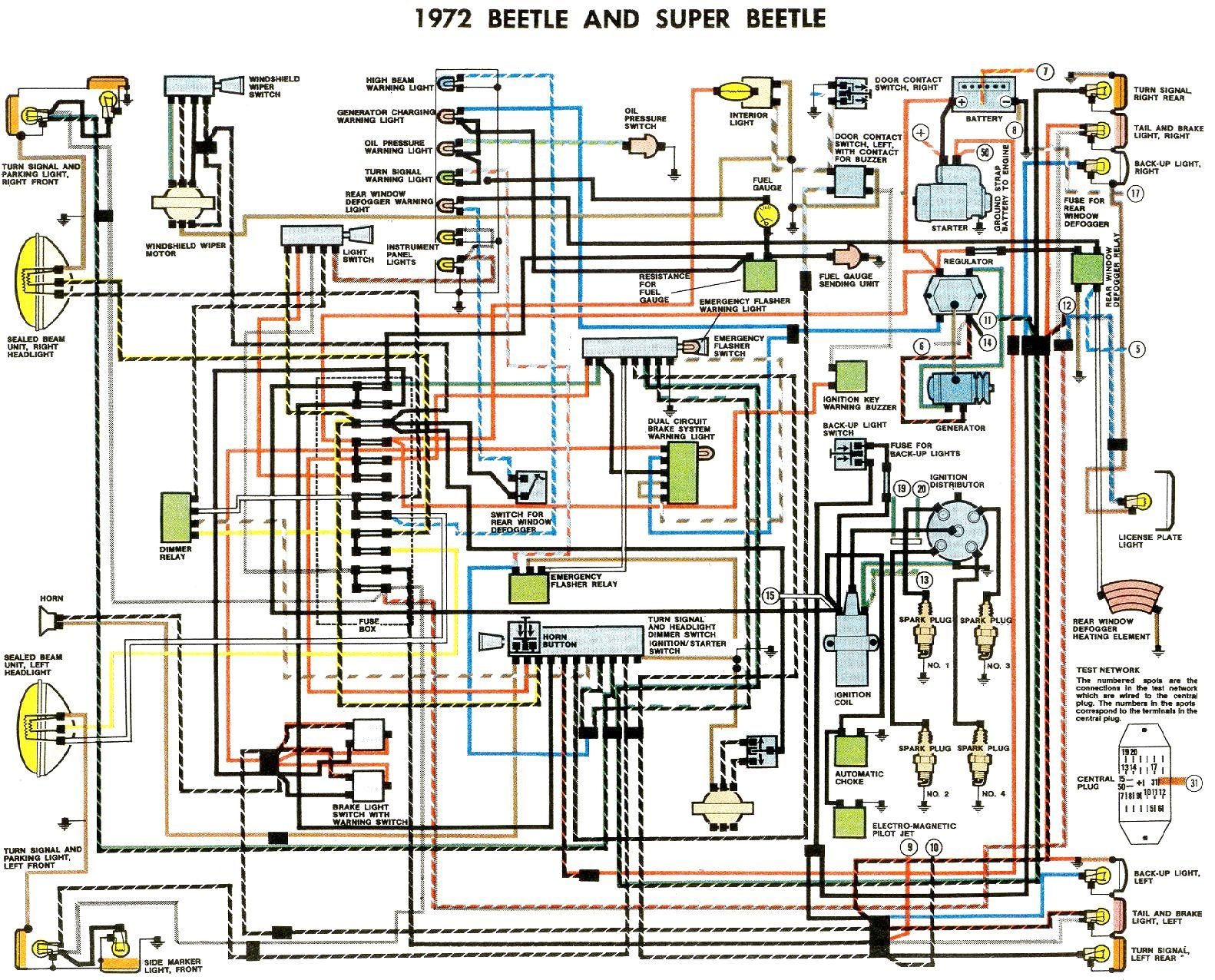 1972 Beetle Wiring Diagram | TheGoldenBug.com | Vw super beetle, Diagram  design, Volkswagen carPinterest
