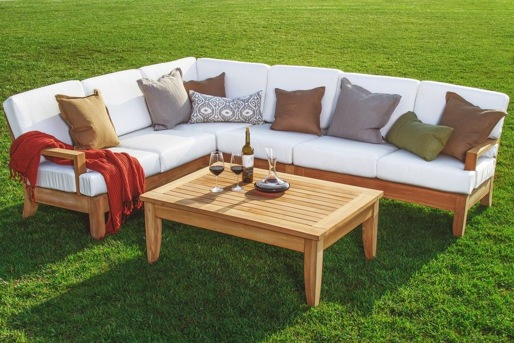 Teak Outdoor Sofa With Pc A Grade Wood Teakwood Patio Sectional Set Pool