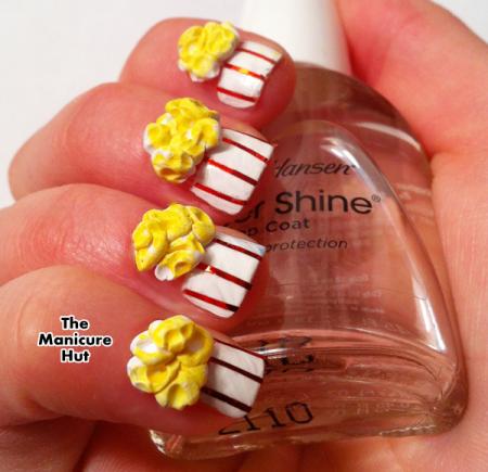 3d Buttered Pop Popcorn Nails Nails Original Pinterest Pop