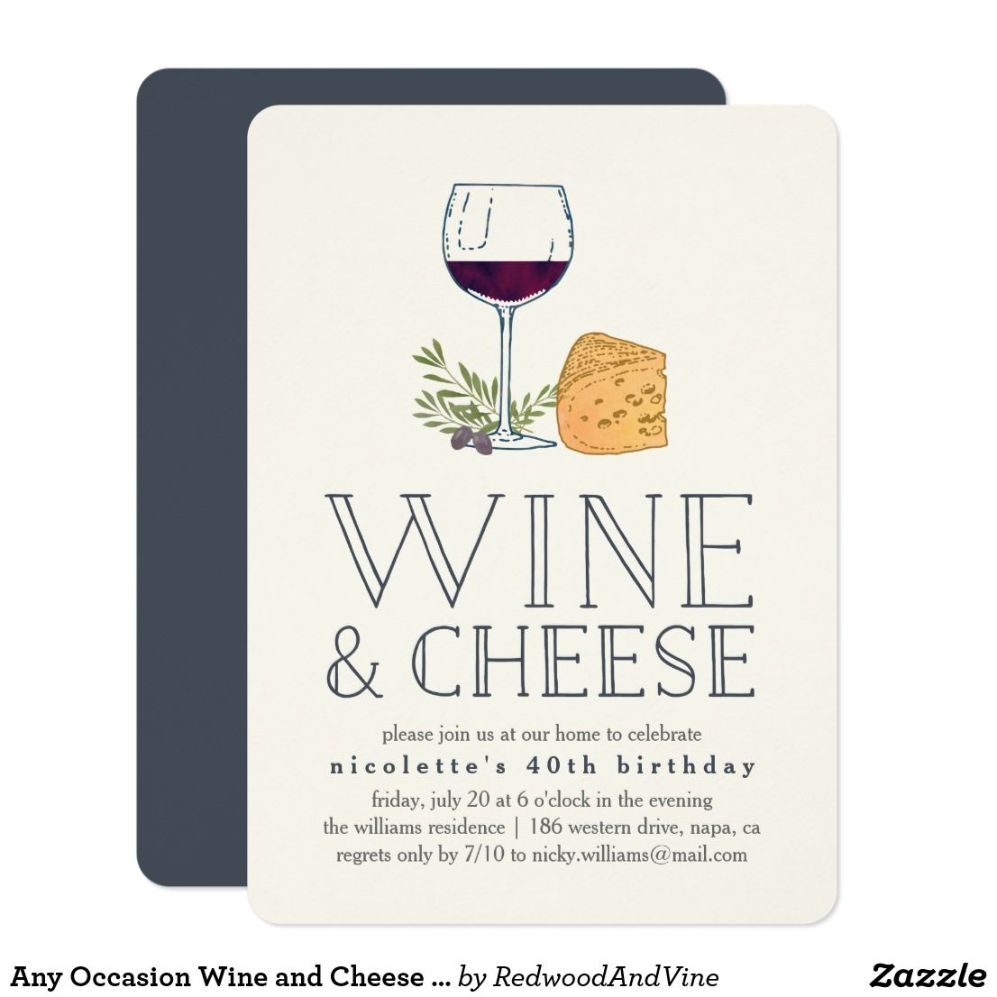 Any Occasion Wine and Cheese Party Invitation | Invitations ...