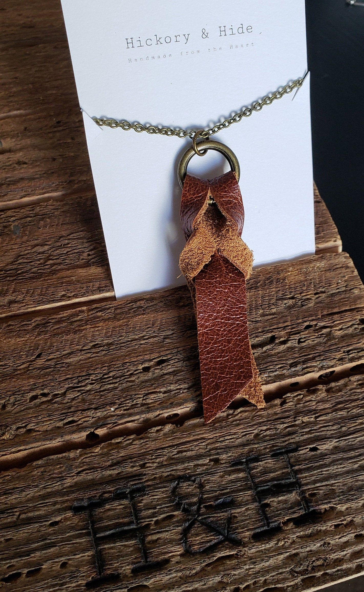 Photo of Long Leather Necklace with Braid Detail: simple, classic, fall fashion