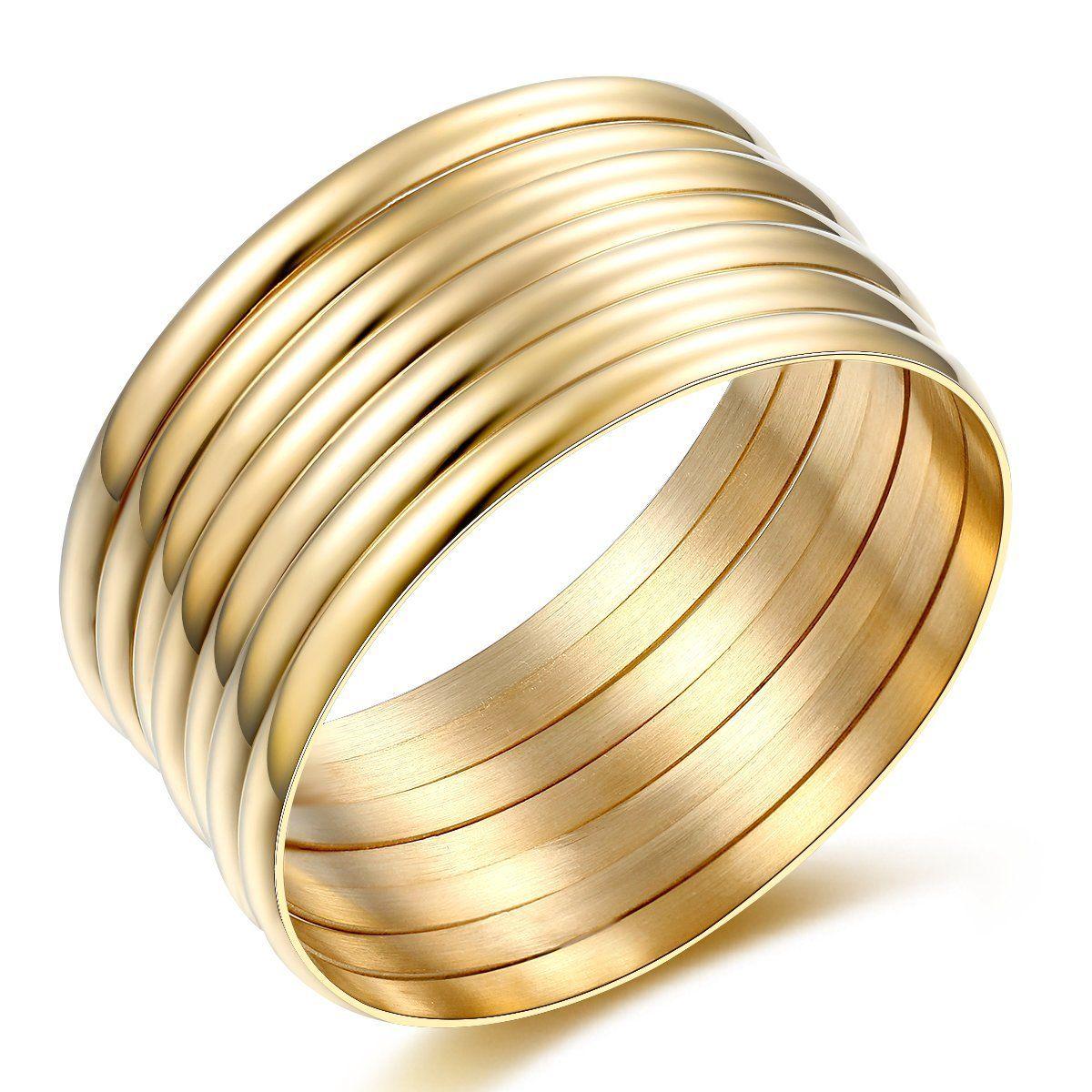 Carfeny jewelry high polish set of stacked gold bangle bracelets