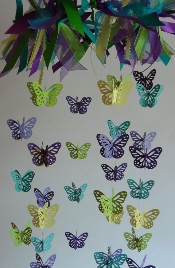 Butterfly Mobile, Aqua, Lavender, Purple, Lime Green, and Yellow  Baby Nursery, Shower Gift on Etsy, $63.00