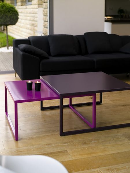 Table Basse Coulissante Tip Top Acier Matiere Grise Rose Aubergine Mobilier Metal Acier Indoor D Metal Furniture Design Coffee Table Furniture Design