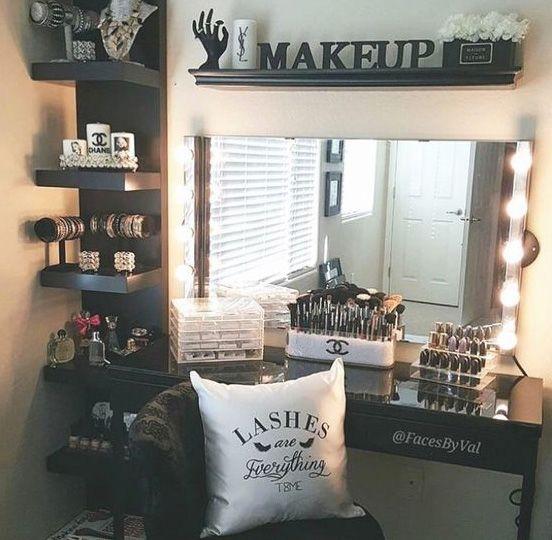 Black White Makeup Station Beauty Room Room Decor