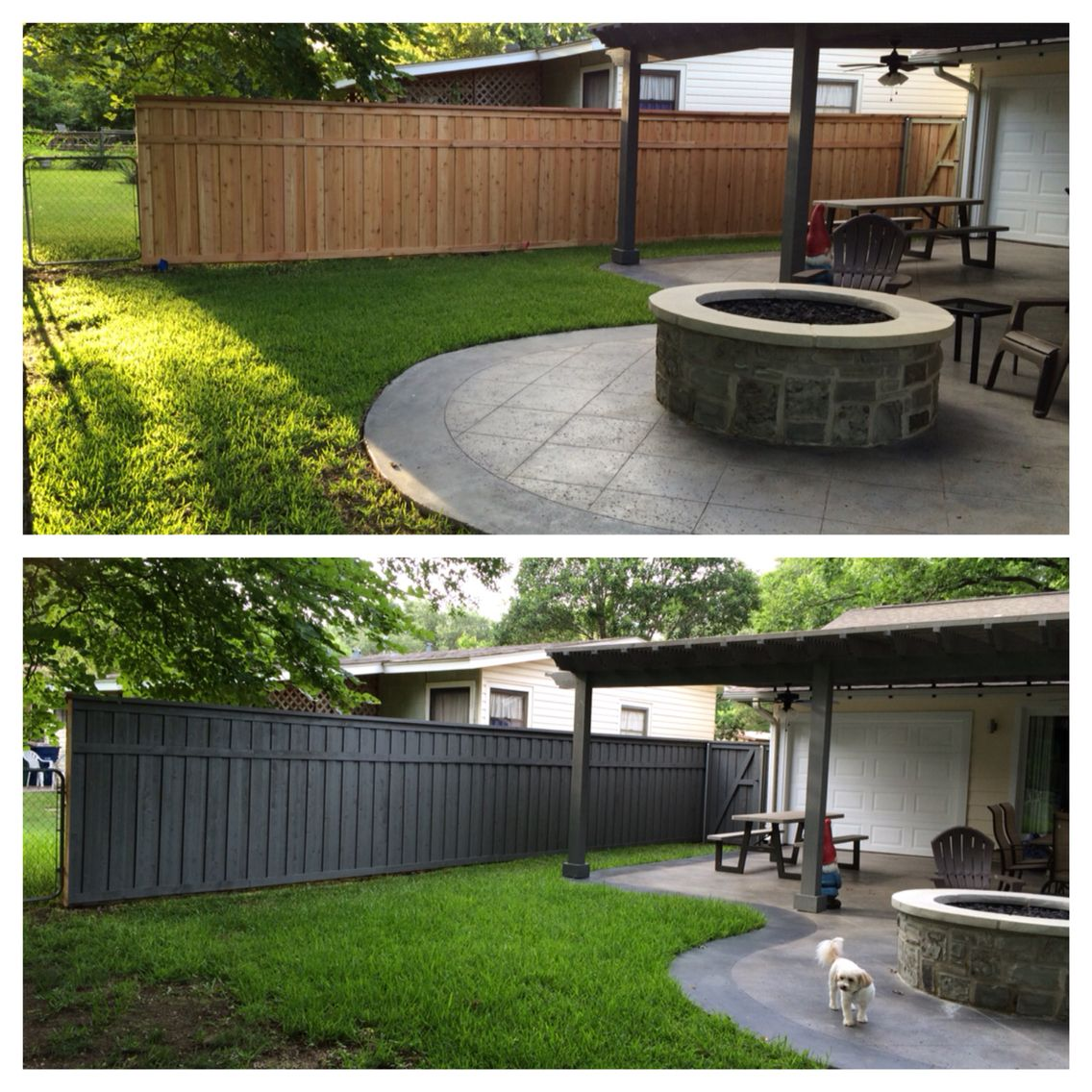board on board fence with trim with olympic max solid color stain