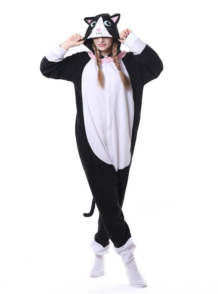 692362a776 Flannel Black Cat Onesie Pajama Animal For Women – Lilacoo