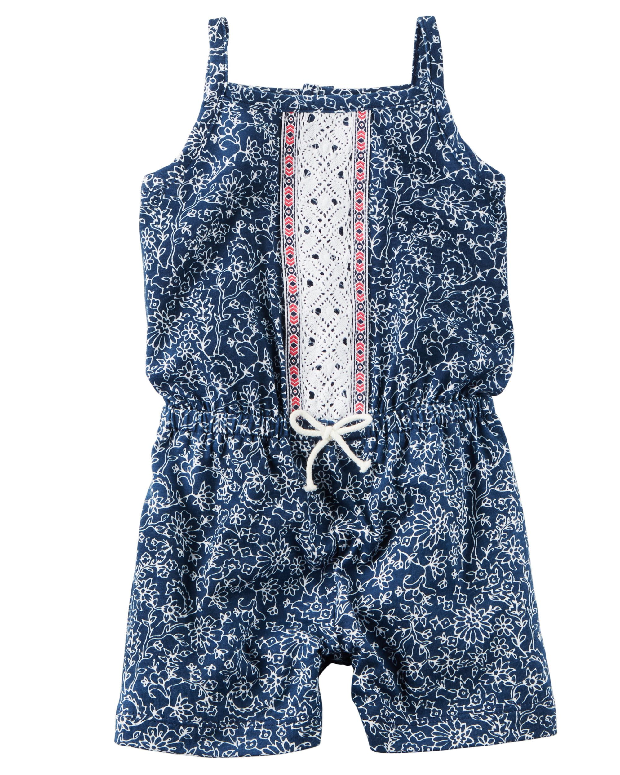 d7ba3ae322a Baby Girl Floral Embroidered Romper