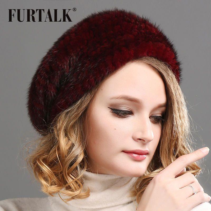 2f04c5e1e6a Women S Fur Beret Natural Mink Fur Bobble Hat Cap Russia Winter Strips Cap