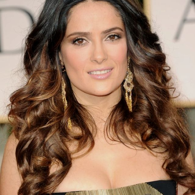 Salma Hayek ombré hair.  And just for the record, she also has the most crazy-perfect features!