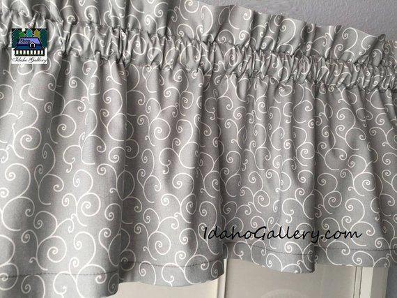 Gray Valance With White Swirls Decorative Curtain Modern Decor Short Valance Bedroom Curtain Kitchen Curtain 11 X 42 Wide Curtain Decor Gray Valance Curtains