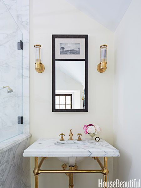 Sconces In Gilded Age Bathroom Bryan Joyce Design House Beautiful Ralph Lauren Home