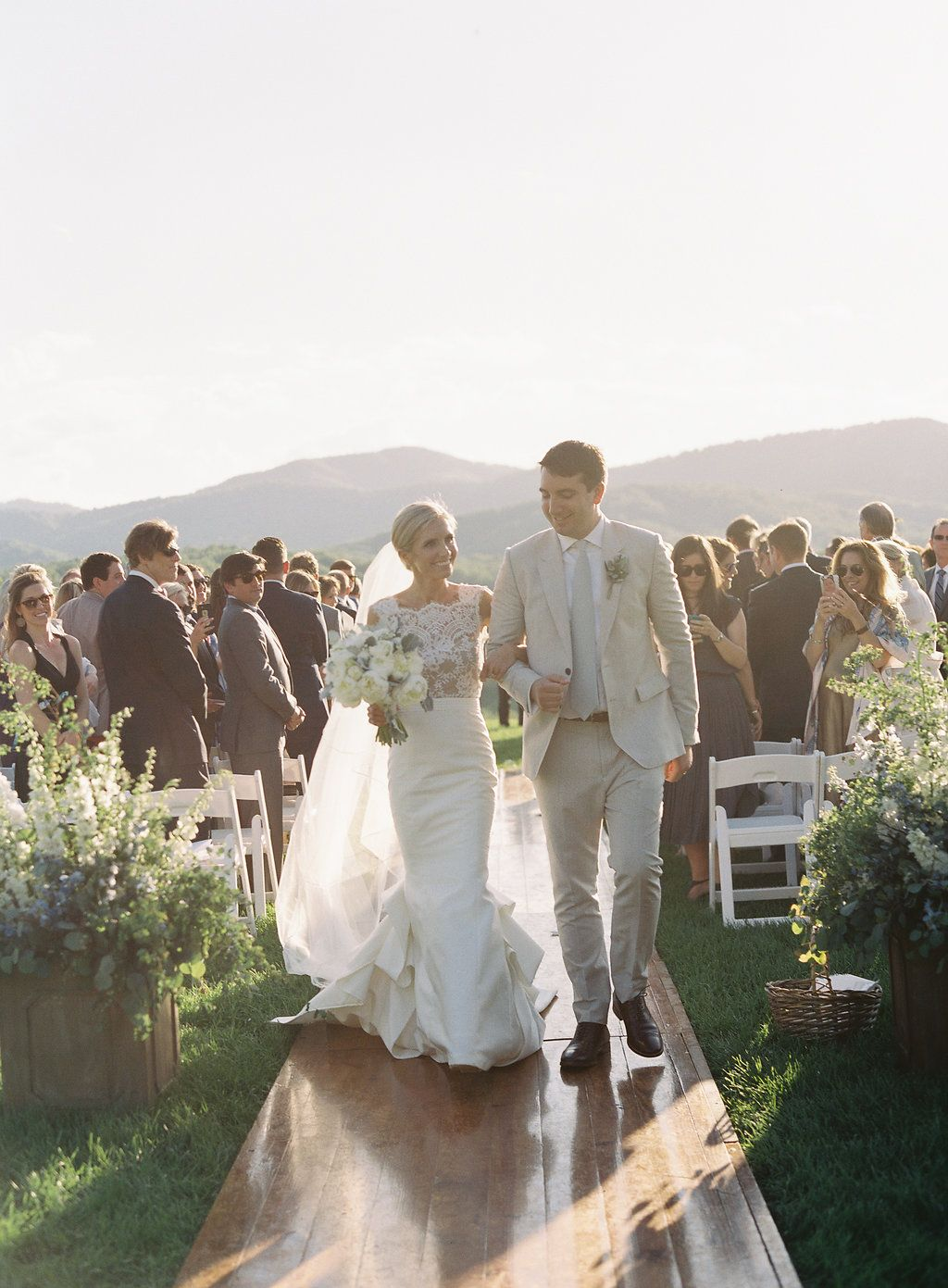 Outdoor Wedding Wooden Aisle At Pippin Hill Farm Vineyards Photographer Laura Gordon
