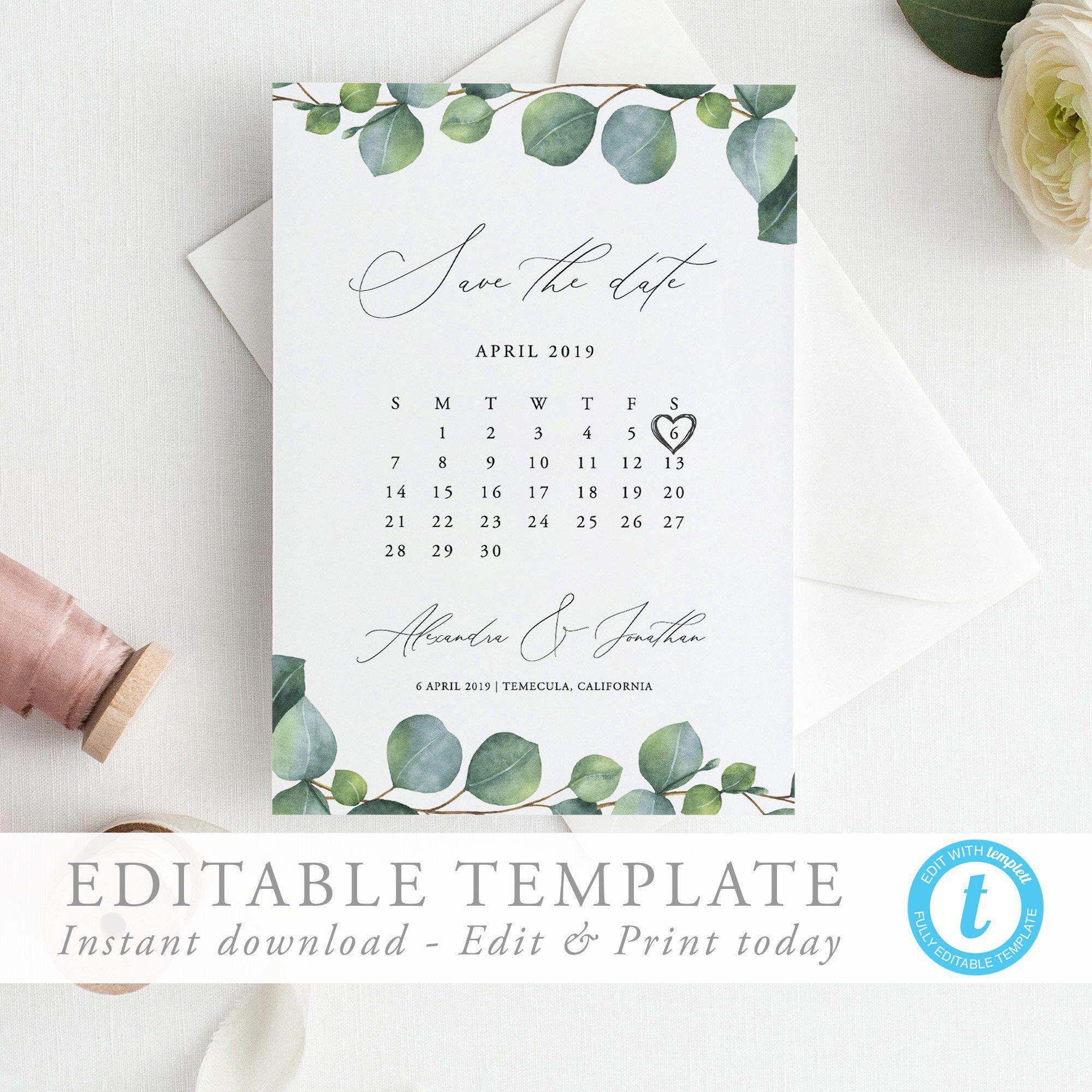 Greenery Calendar Save The Date Template Editable Invite Etsy Save The Date Templates Save The Date Editable Invitations