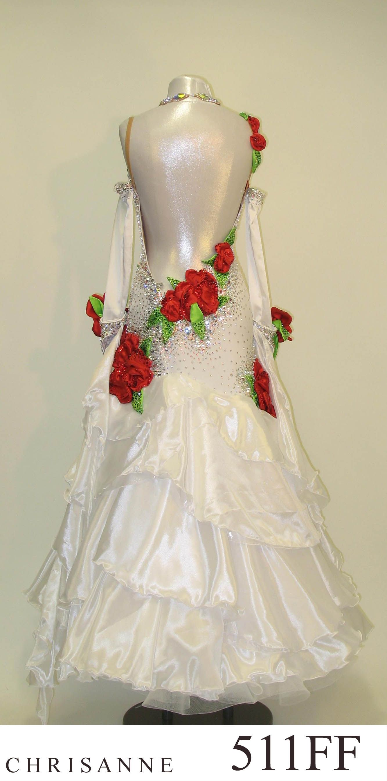 White Dress With Red Flowers Ballroom Dancing Pinterest