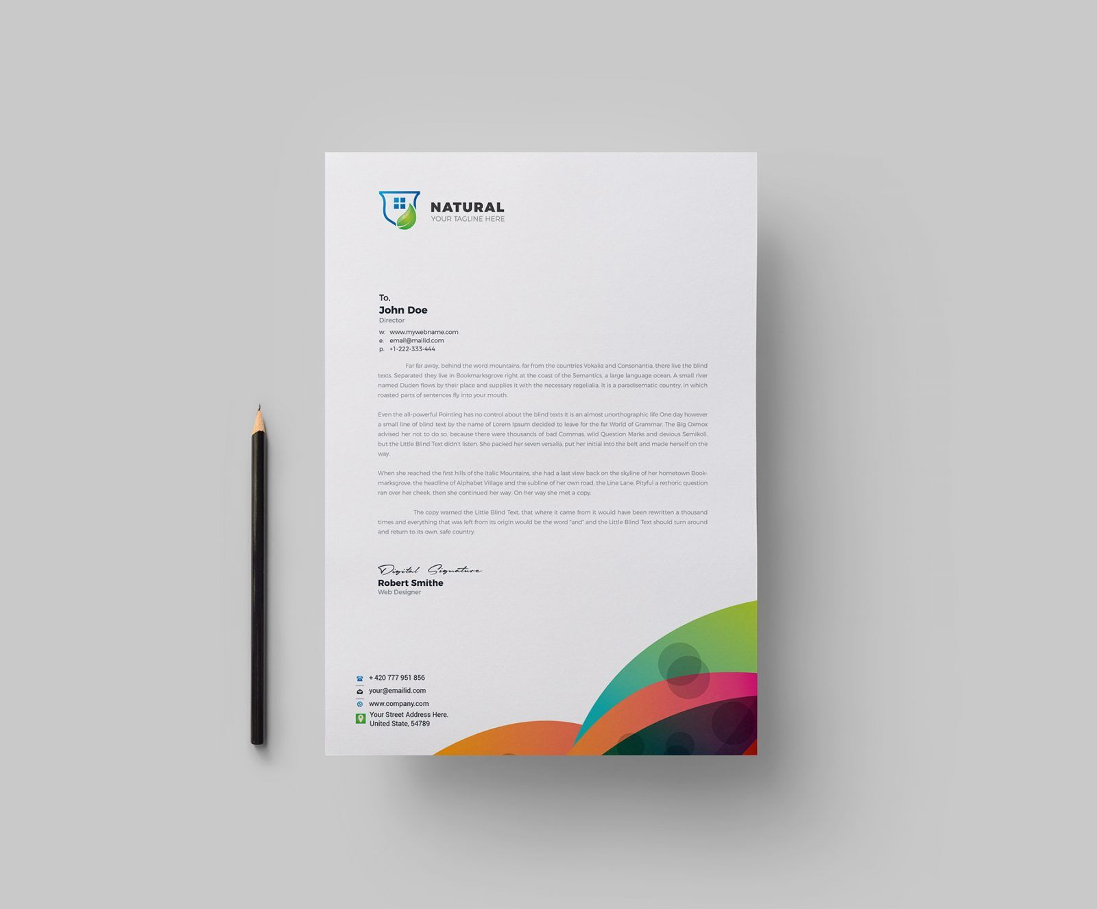 Colorful Corporate Letterhead Design Template 002160