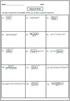Preview: Laws of Exponents Worksheets | exponents | Pinterest ...