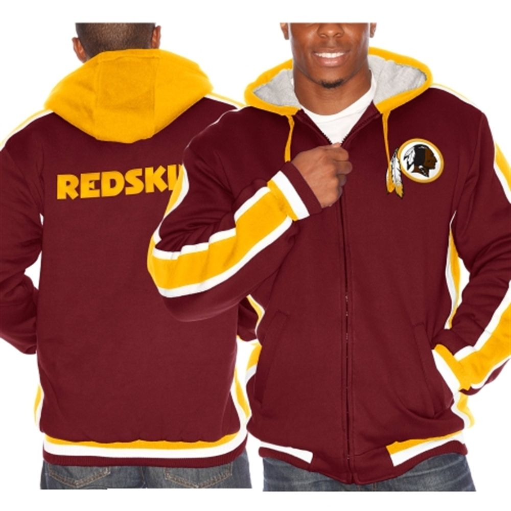 3e2647c3 Mens Washington Redskins Burgundy Chop Block Full Zip Fleece Hoodie ...