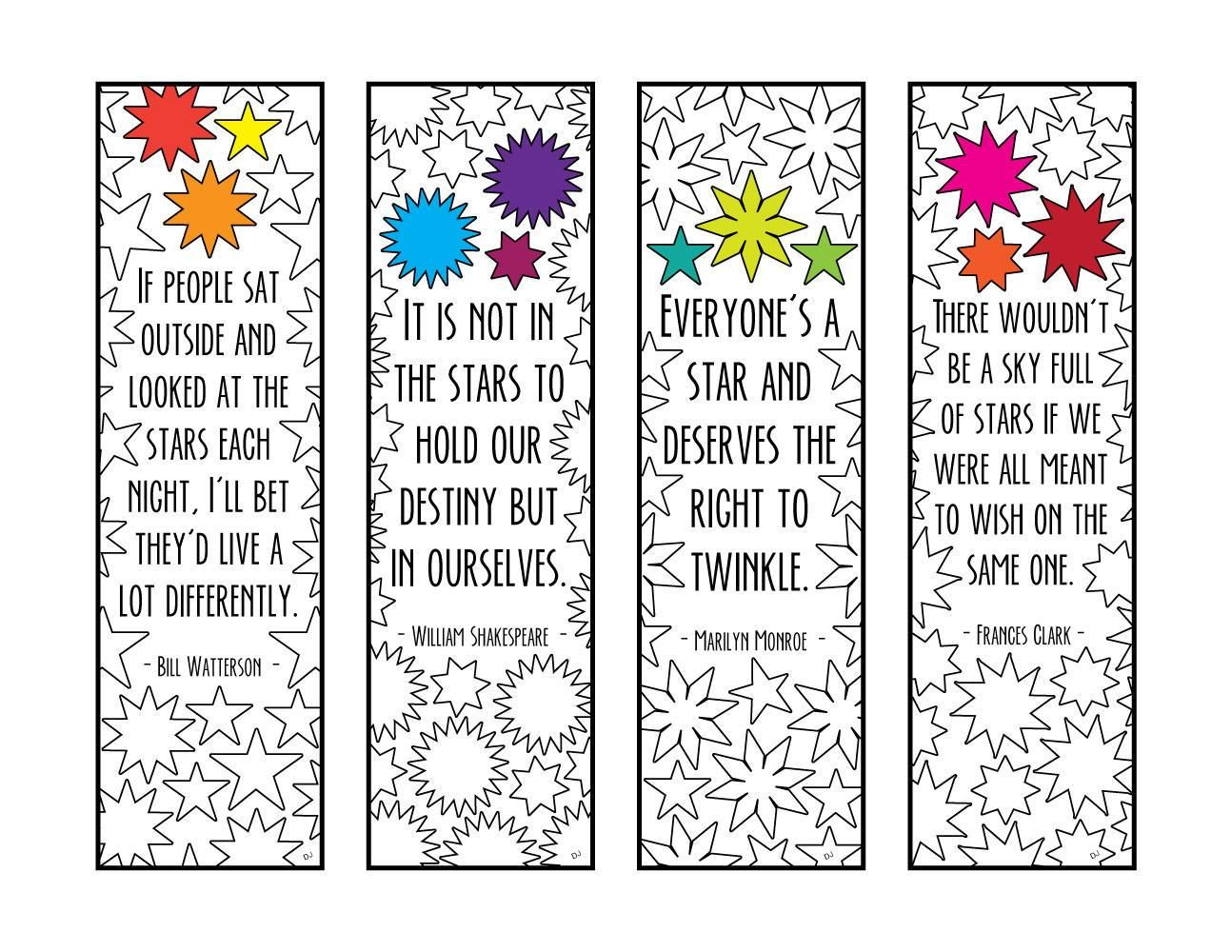 Star Quotes Bookmarks - PDF Zentangle Coloring Page ...