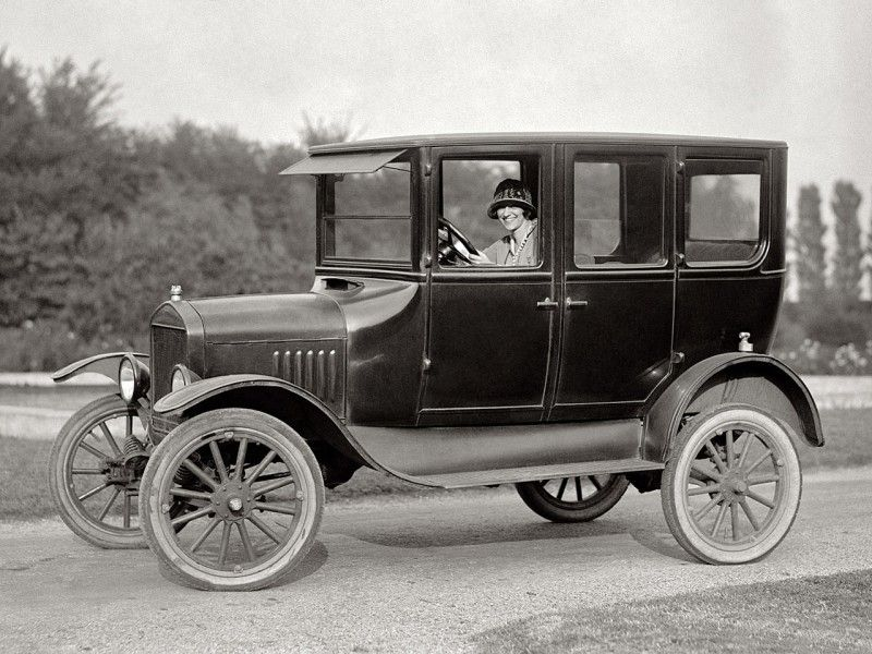 1924 Ford Model T 4 Door Sedan my son and grandfather