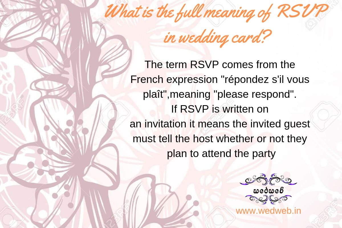 What Is The Full Meaning Of Rsvp In A Weddingcard Get