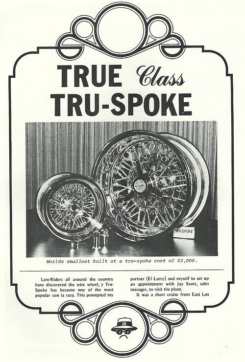 tru spoke old school wire wheel ad featured 1978 lowrider