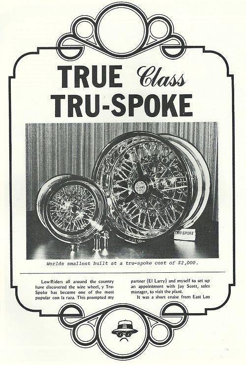 tru spoke old school wire wheel ad featured 1978 lowrider