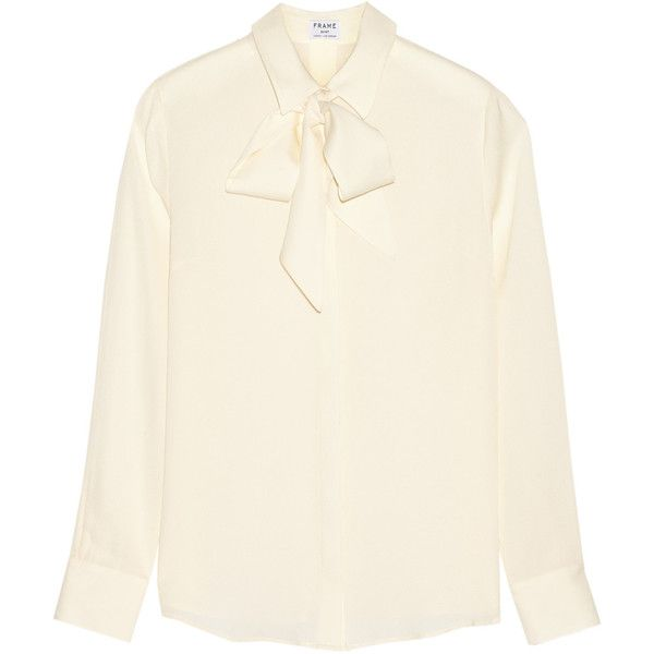 Frame Le Bow silk-georgette blouse ($165) ❤ liked on Polyvore featuring tops, blouses, cream, white bow top, white loose blouse, cream top, loose white top and loose blouse