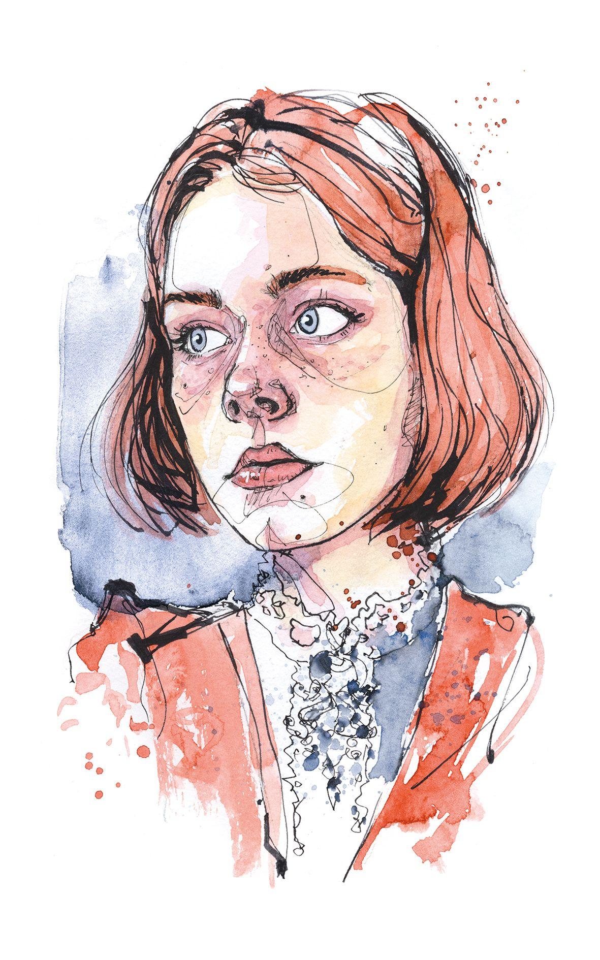 Line Art Watercolor : Dominic beyeler portrait portraitsketch sketch