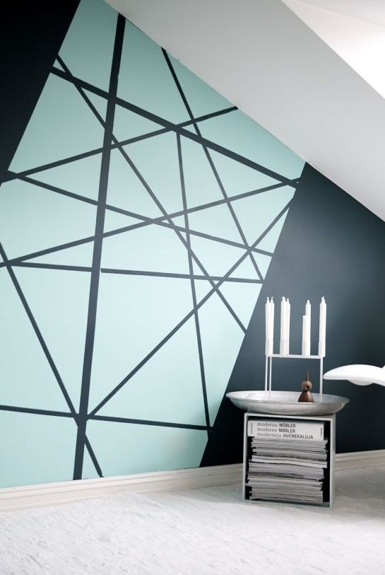 Graphic wall geometric coloring books pinterest Interior design painting accent walls