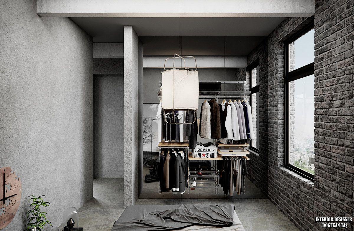 Grey Modern Industrial Apartment Interiors Apartment Interior