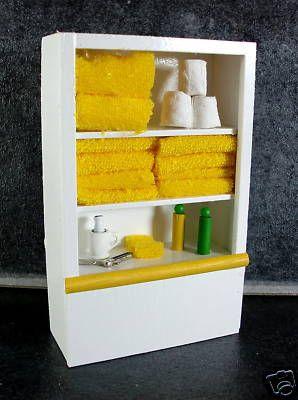 Dolls House Miniature 1:12 Scale Furniture White Wooden Bathroom Shelf Unit & Accessories Lemon | Melody Jane Dolls Houses