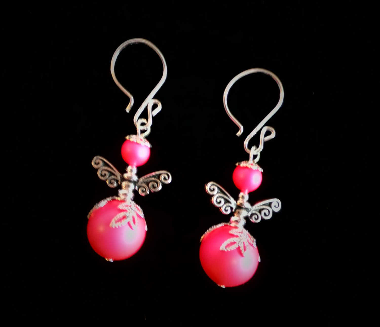 Fairy Earrings. Handcrafted with Swarovski crystal pearls. by VeteransGoCrafty on Etsy