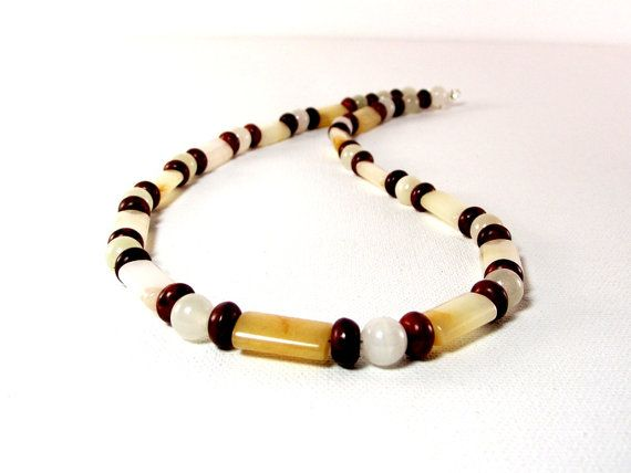 Men's Necklace Featuring Golden Cream Quartz, Italian Onyx and Coffee Turquoise by Designed By Audrey, $42.00