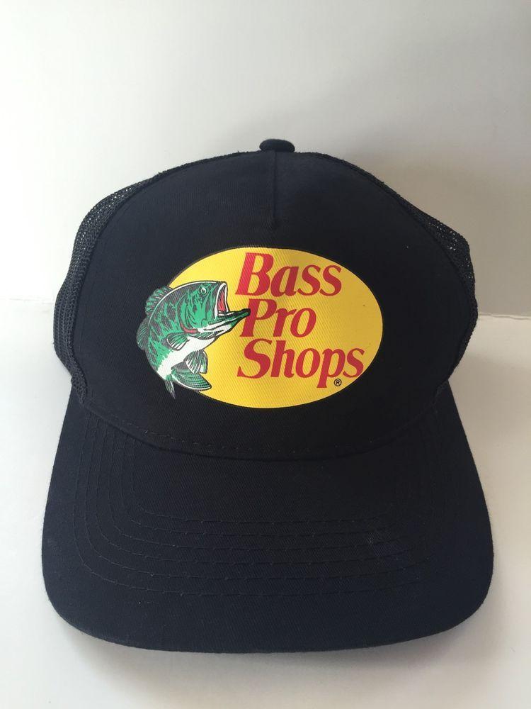 Bass Pro Shops Black Snapback Trucker Hat Mesh Cap Authentic Black Snapback Trucker Hat Mesh Cap