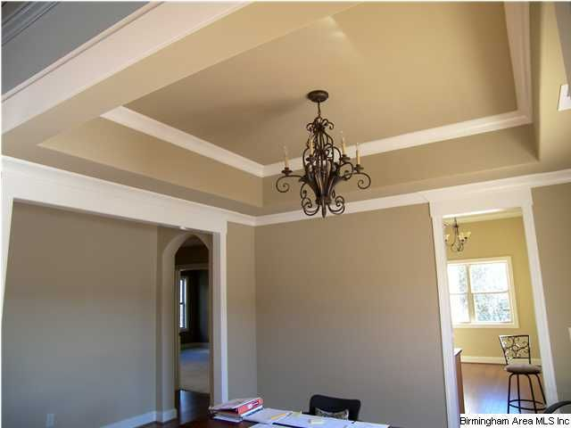 Two Tone Tray Ceiling Trey Ceiling Farmhouse Remodel Coffered Ceiling