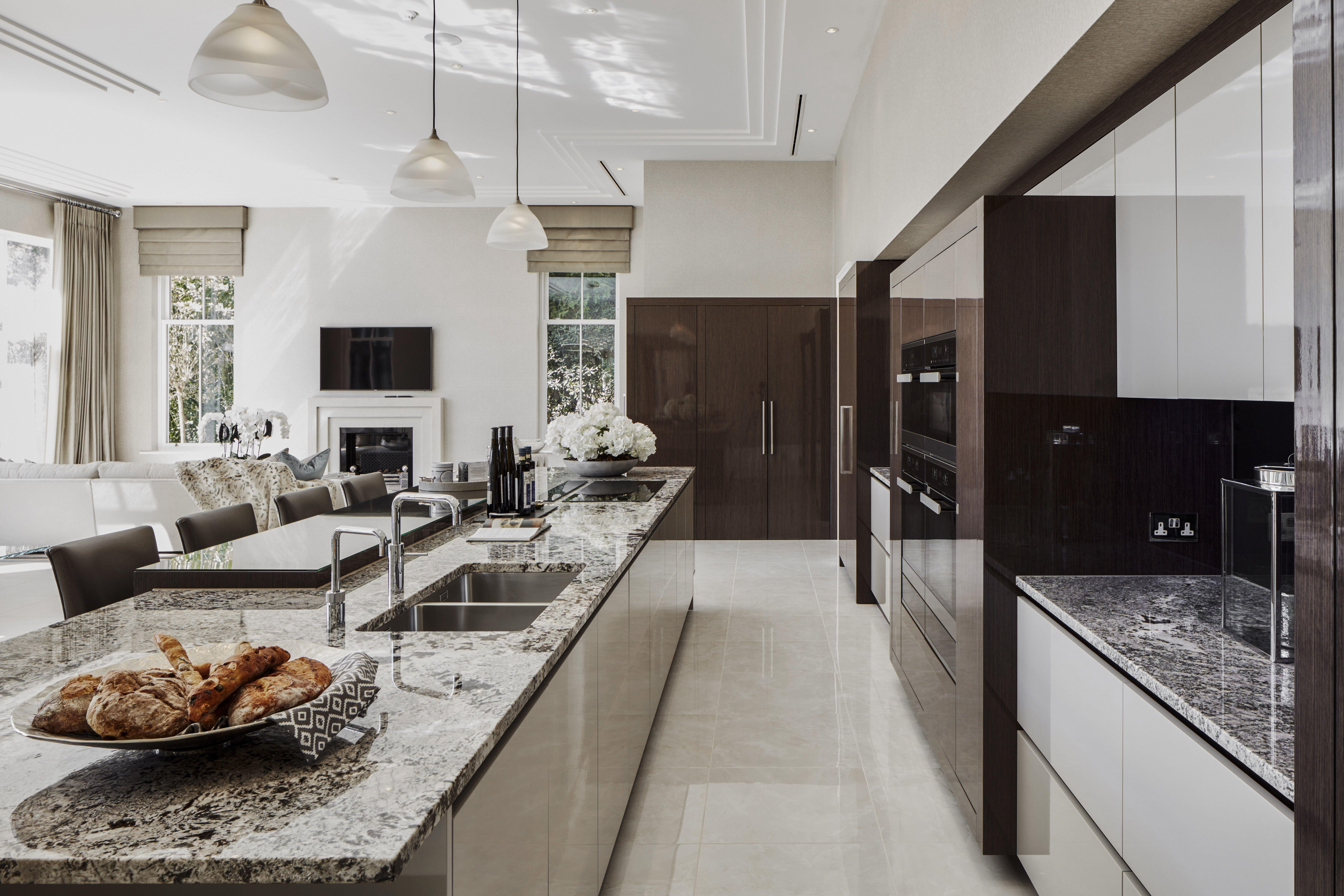EXTREME High Gloss Luxury Kitchen. Stone Kitchen Worktops. | Spaces ...