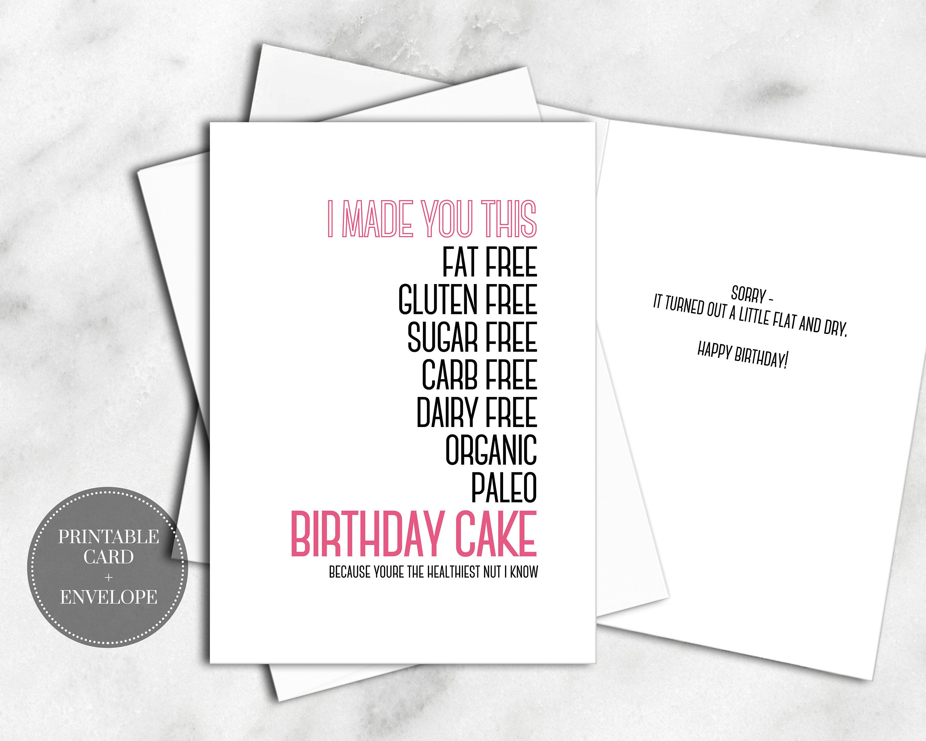 PRINTABLE Birthday Greeting Card INSTANT DOWNLOAD Envelope Healthy Workout Diet Cake Funny Sarcastic Hot Pink Saying Best Friend Sister Her By
