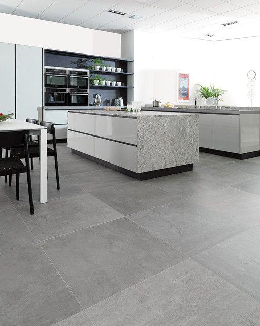 Concrete Look Tiles Rodano Silver Kitchen Wood Floor On