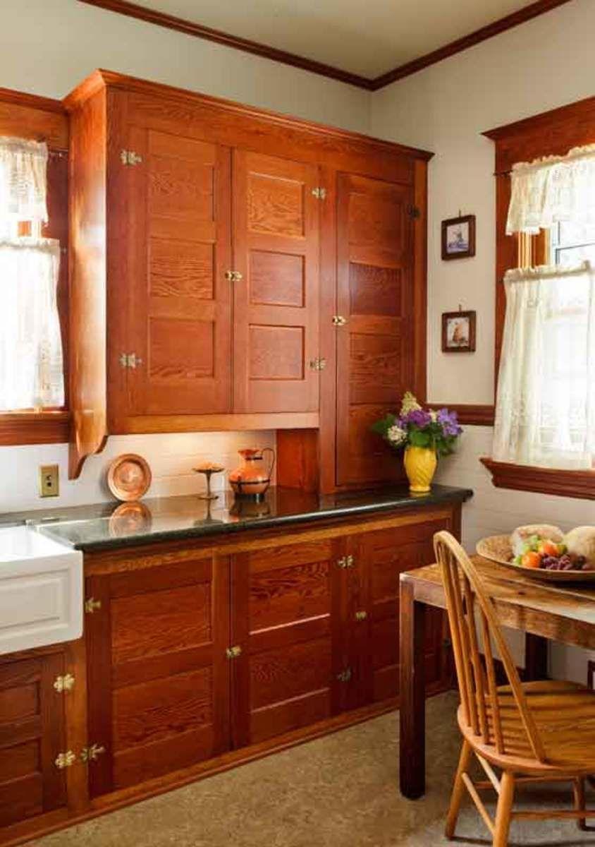 Restored Cabinets In A Renovated Craftsman Kitchen Bungalow Kitchen Vintage Kitchen Cabinets Kitchen Cabinet Styles