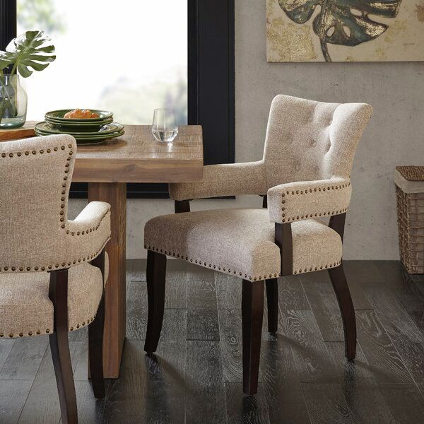 Idabel Tufted Upholstered Arm Chair In, Upholstered Dining Room Chairs With Arms